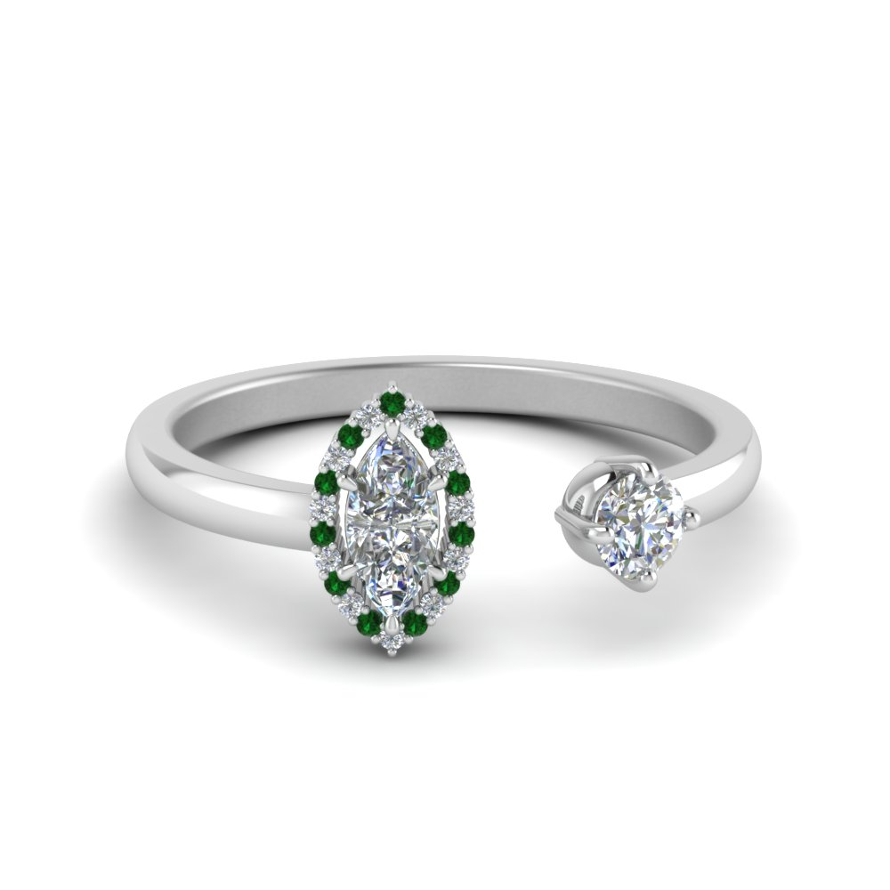 Marquise Halo Emerald Open Ring