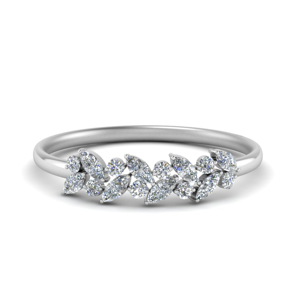 Marquise Diamond Wedding Anniversary Ring In 14K White Gold