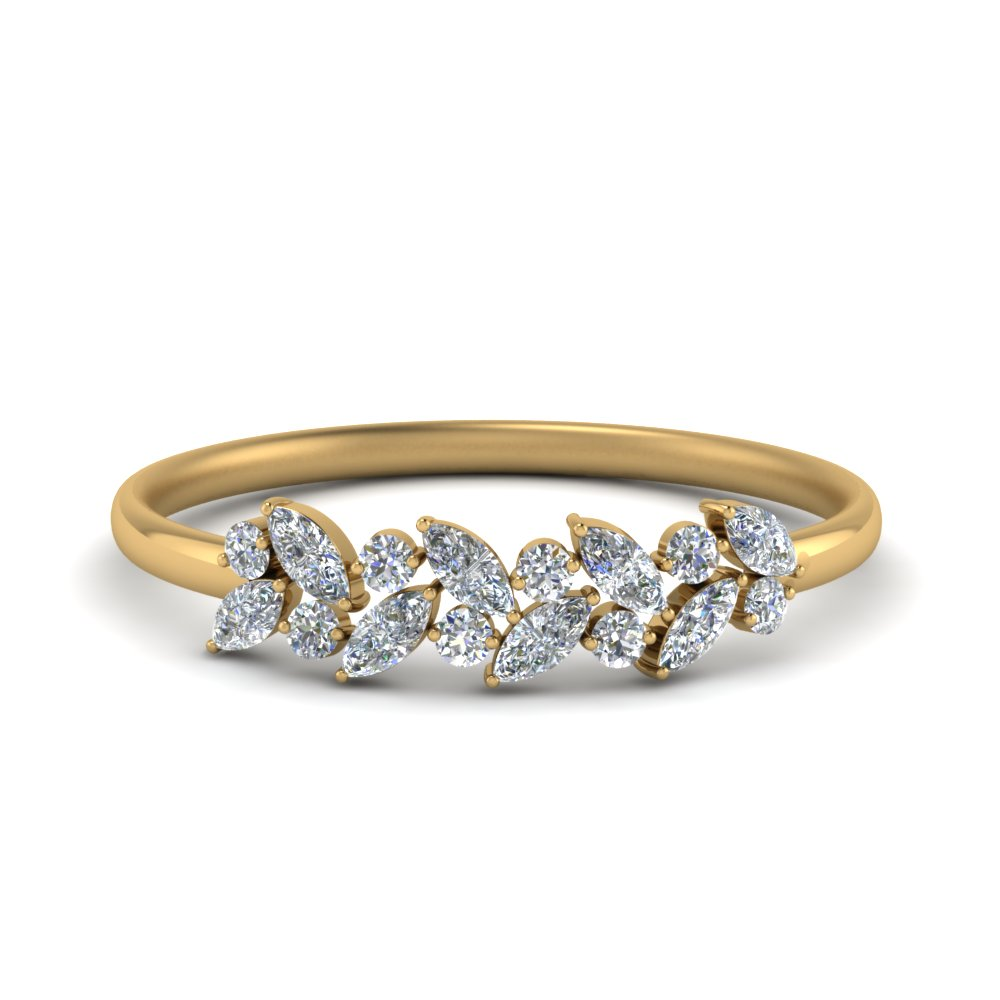 Marquise Diamond Wedding Anniversary Ring In 14K Yellow Gold