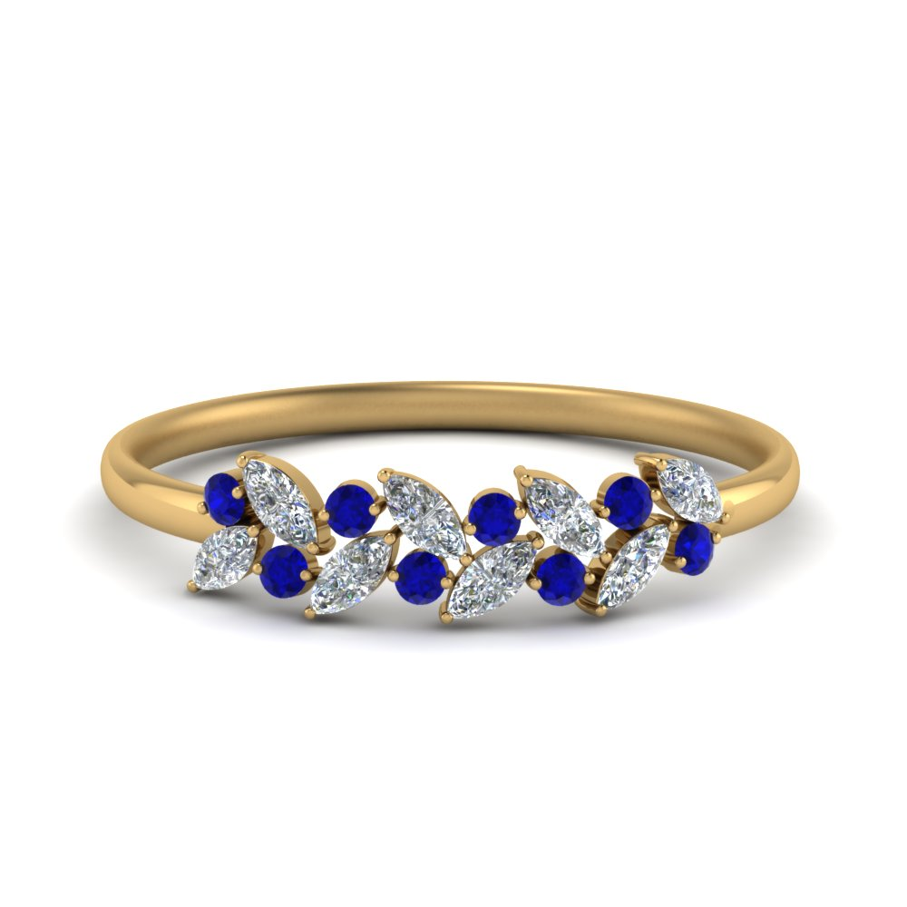 marquise diamond wedding anniversary ring with blue sapphire in 14K yellow gold FD8372GSABL NL YG