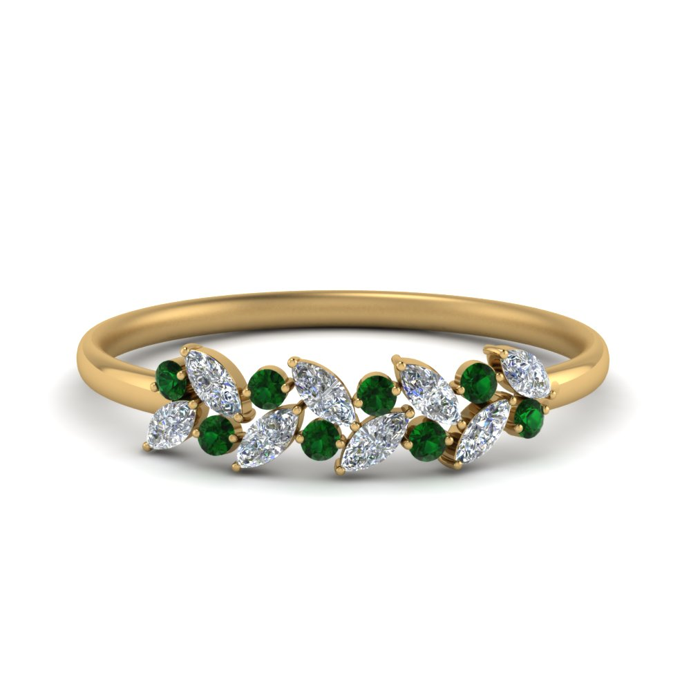 marquise diamond wedding anniversary ring with emerald in 18K yellow gold FD8372GEMGR NL YG