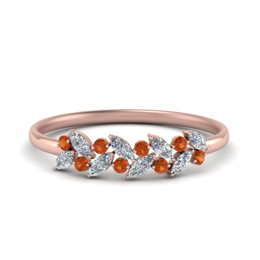marquise diamond wedding anniversary ring with orange sapphire in 14K rose gold FD8372GSAOR NL RG