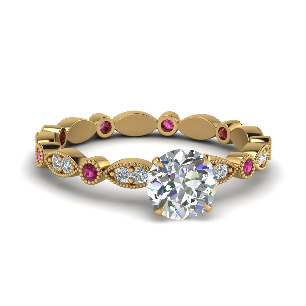 marquise-dot-eternity-round-engagement-ring-with-pink-sapphire-in-FD8641RORGSADRPI-NL-YG
