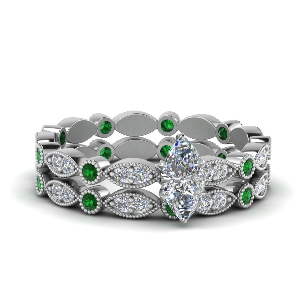 Marquise Dot Emerald Wedding Set