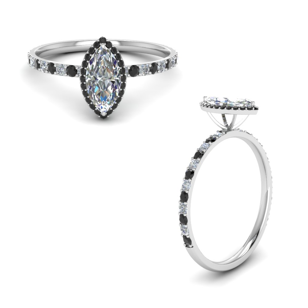 Marquise Cut Halo Diamond Ring