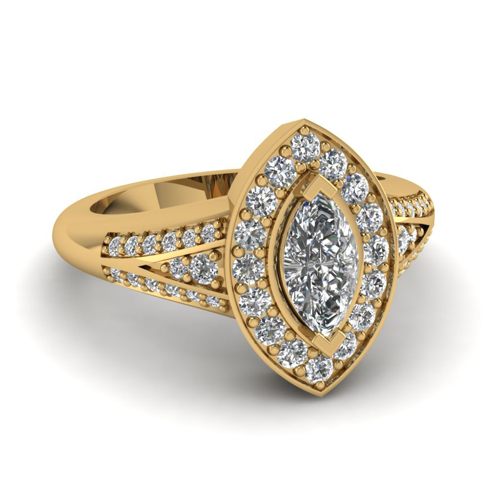 marquise halo split diamond vintage engagement ring in 14K yellow gold FDENR8228MQR NL YG