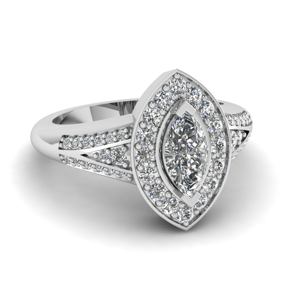 marquise halo split diamond vintage engagement ring in 950 Platinum FDENR8228MQR NL WG