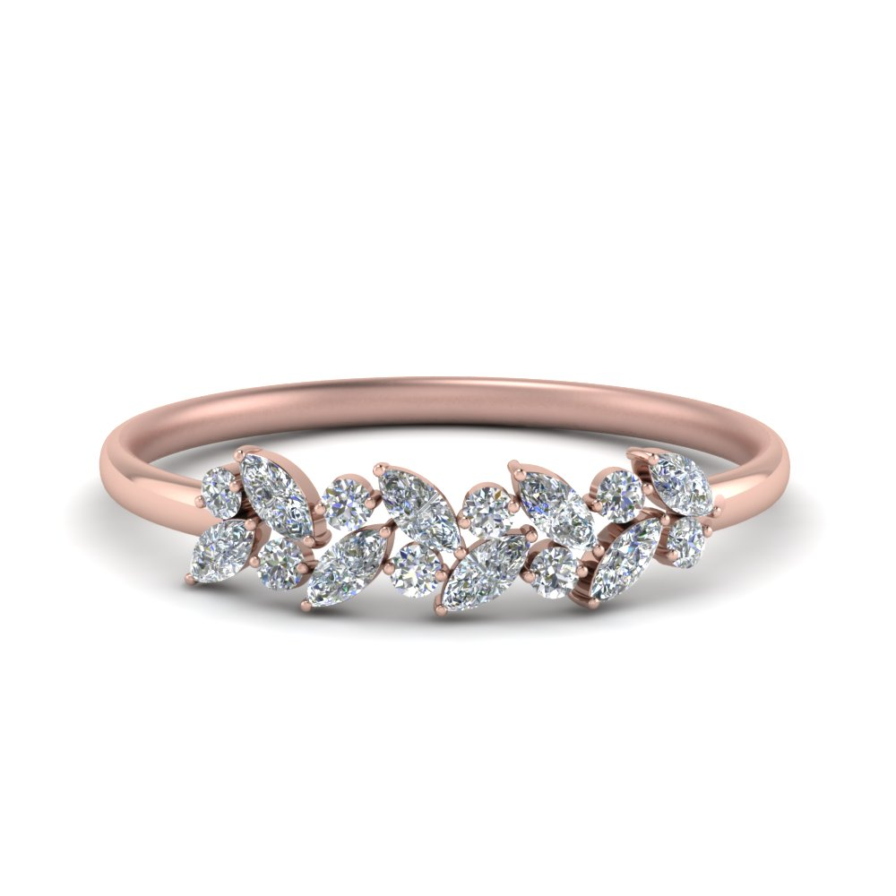 marquise nature inspired wedding ring in 18k rose gold fascinating
