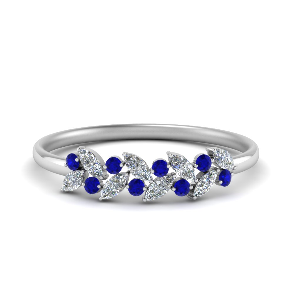 marquise nature inspired wedding ring with blue sapphire in 14K white gold FD8372GSABL NL WG