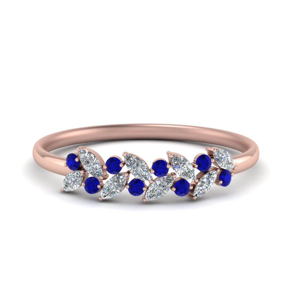 Marquise Nature Inspired Wedding Ring With Blue Sapphire In 18K Rose Gold  FD8372GSABL NL RG