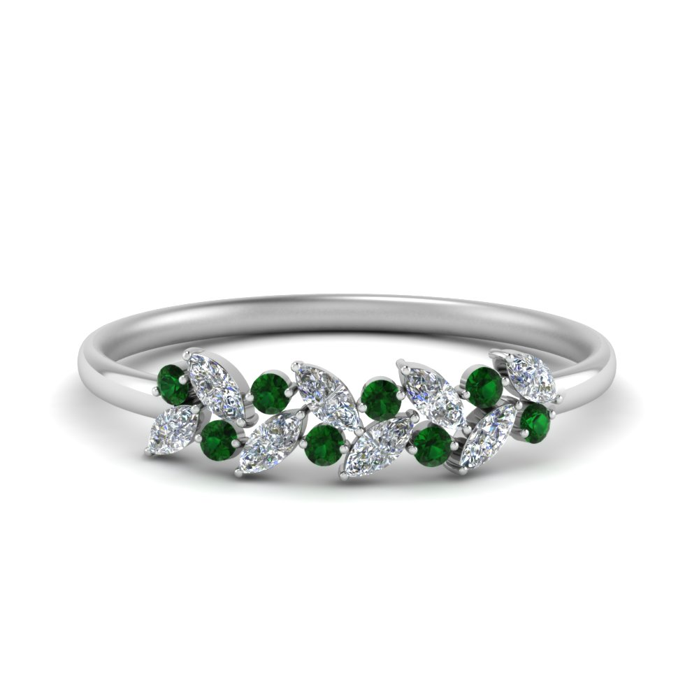 marquise nature inspired wedding ring with emerald in 14k white gold fd8372gemgr nl wg - Nature Wedding Rings