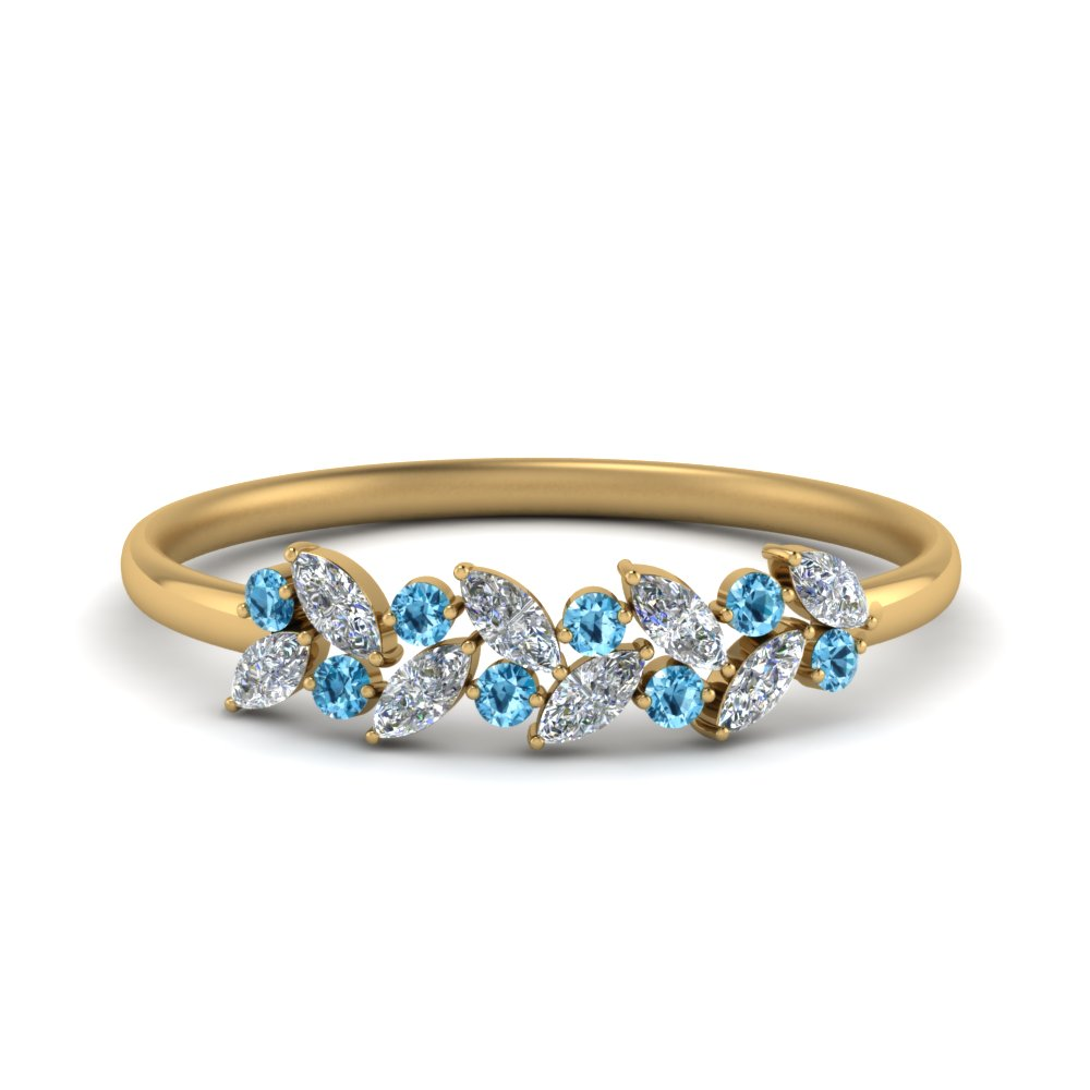 marquise nature inspired wedding ring with blue topaz in 14K yellow gold FD8372GICBLTO NL YG