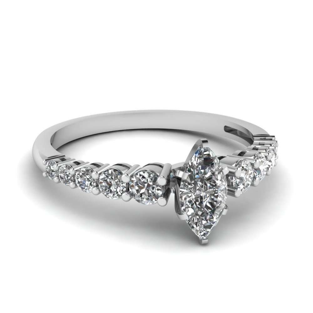 3/4 Carat Marquise Cut Wedding Rings