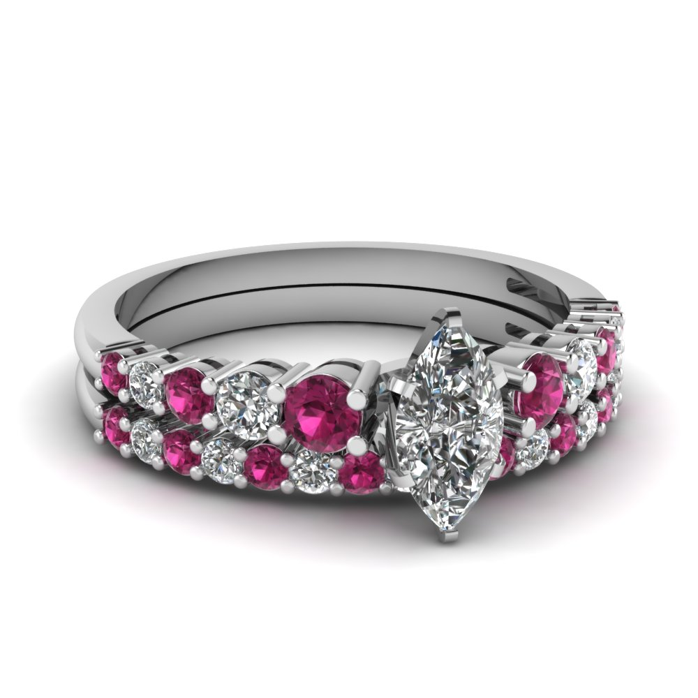 marquise shaped diamond wedding ring sets with pink sapphire in 14k white gold