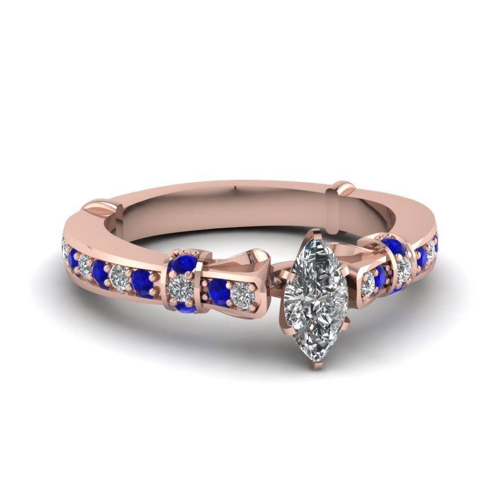 marquise shaped antique petite diamond engagement ring with sapphire in 14K rose gold FDENS3318MQRGSABL NL RG
