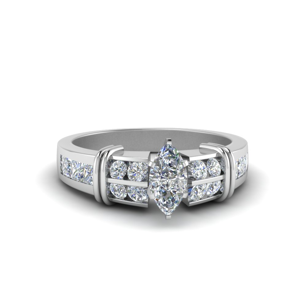 marquise shaped channel set wide diamond engagement ring for her in 14K white gold FDENR2191MQR NL WG