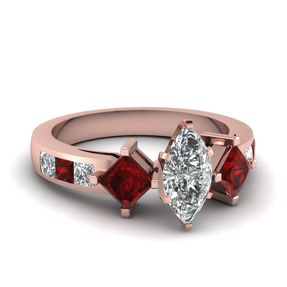 Kite Set Ruby Marquise Diamond Ring