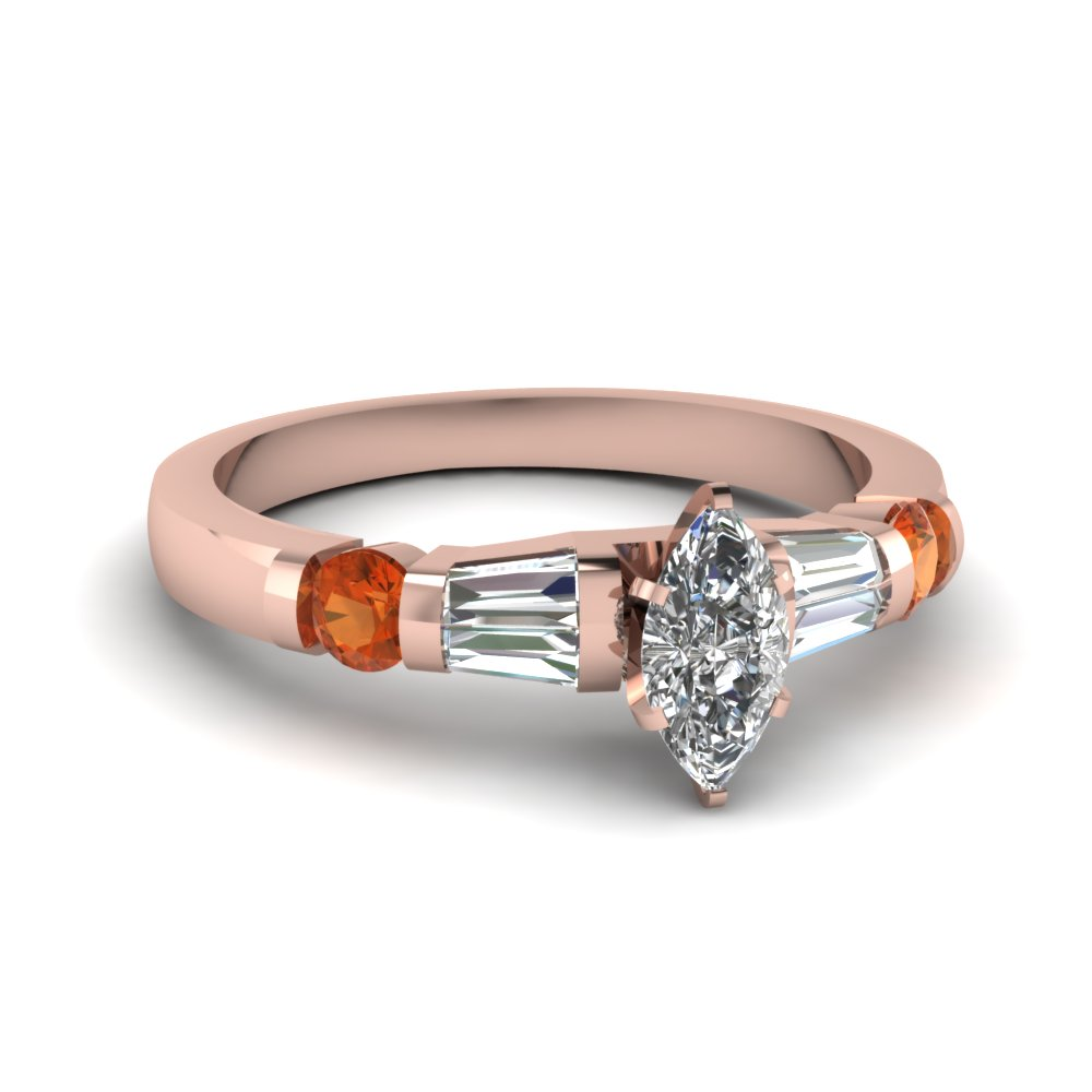 Orange Sapphire Ring 18k Rose Gold