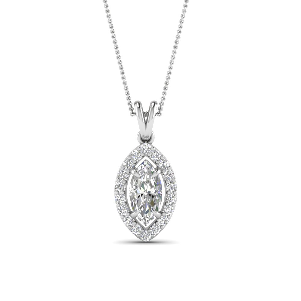 White Gold Halo Diamond Pendant Necklace