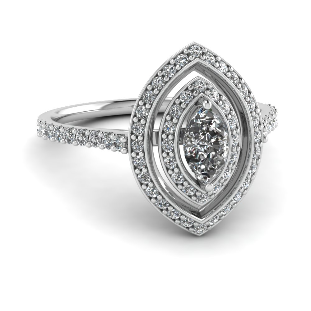Pave Set Marquise White Gold Double Halo Ring