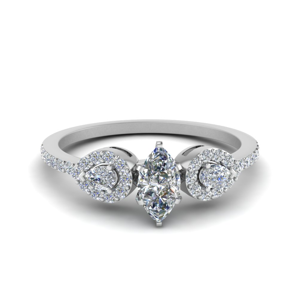 marquise shaped 3 stone diamond halo engagement ring in FDENS3109MQR NL WG