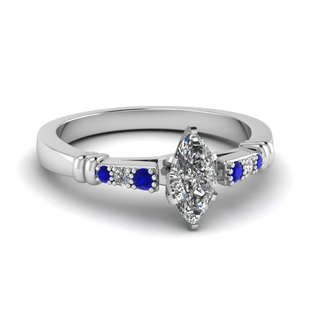 pave bar set marquise cut diamond engagement ring with sapphire in FDENS363MQRGSABL NL WG