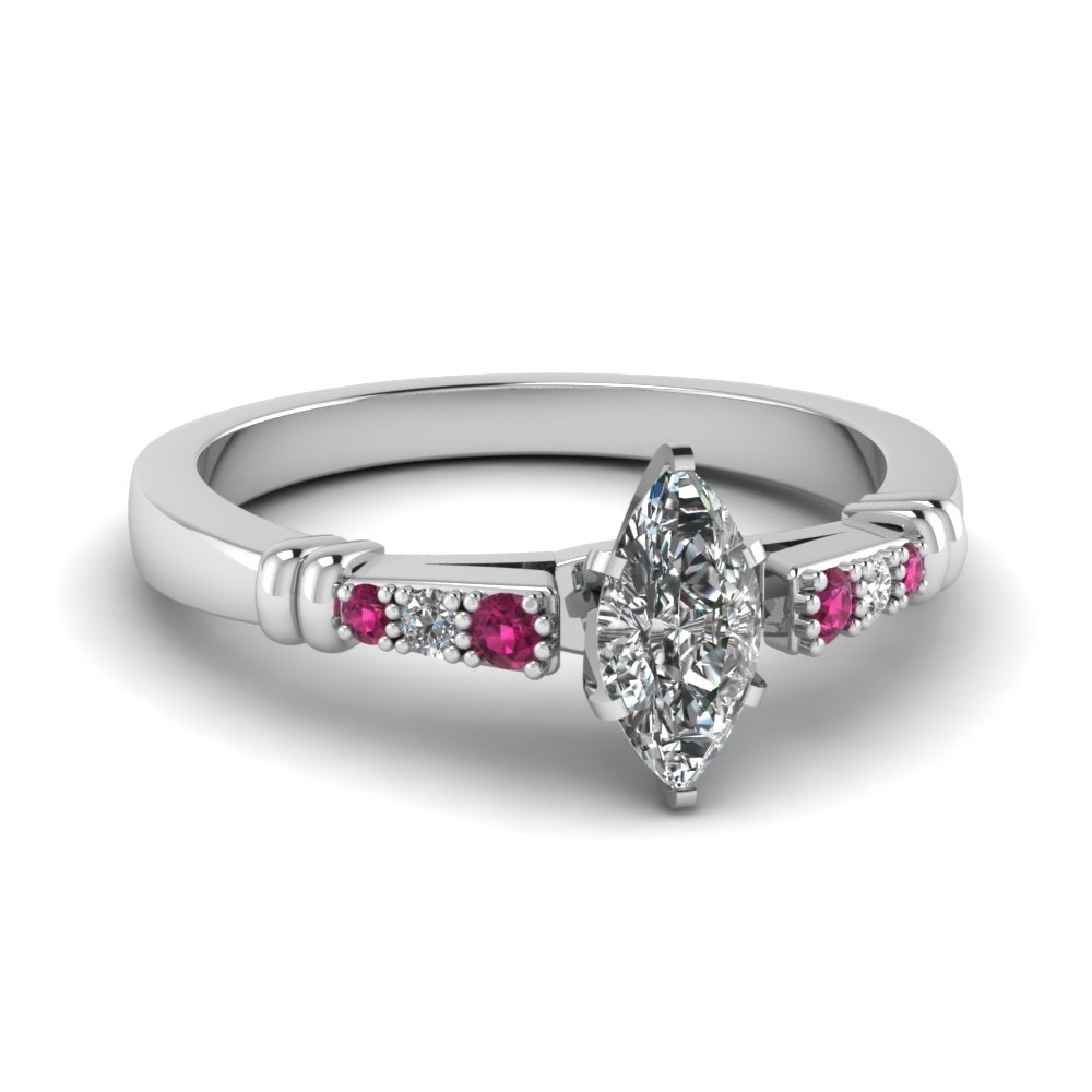 pave bar set marquise cut diamond engagement ring with pink sapphire in FDENS363MQRGSADRPI NL WG