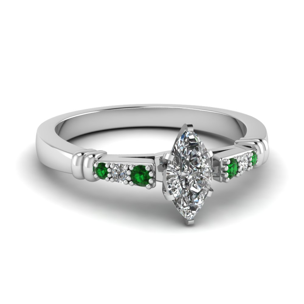 pave bar set marquise cut diamond engagement ring with emerald in FDENS363MQRGEMGR NL WG