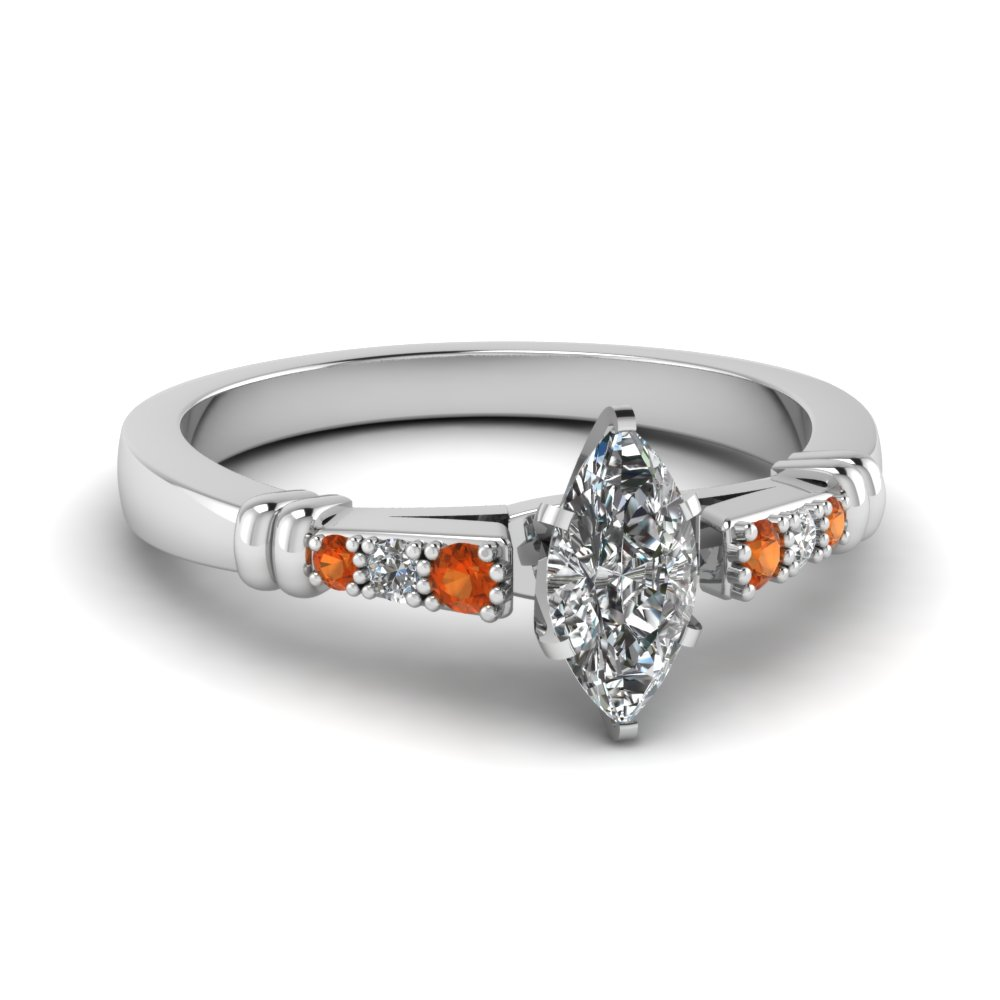 pave bar set marquise cut diamond engagement ring with orange sapphire in FDENS363MQRGSAOR NL WG