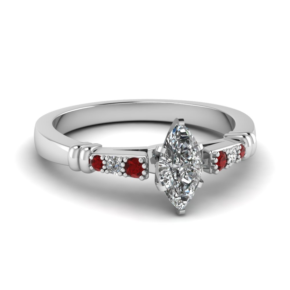 pave bar set marquise cut diamond engagement ring with ruby in FDENS363MQRGRUDR NL WG