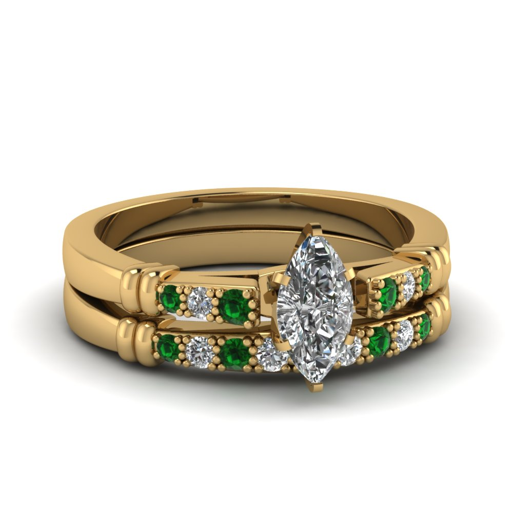 pave bar set marquise cut diamond wedding ring set with emerald in FDENS363MQGEMGR NL YG