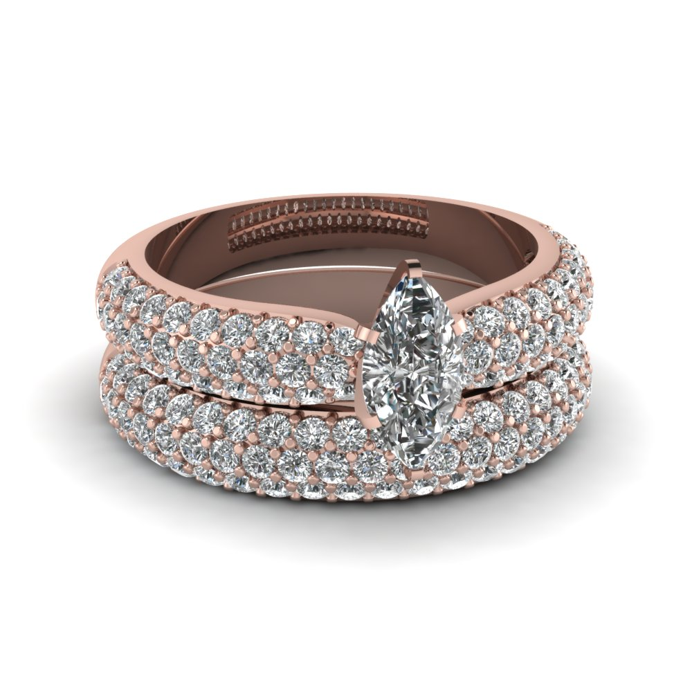 Marquise Diamond Wedding Ring Set