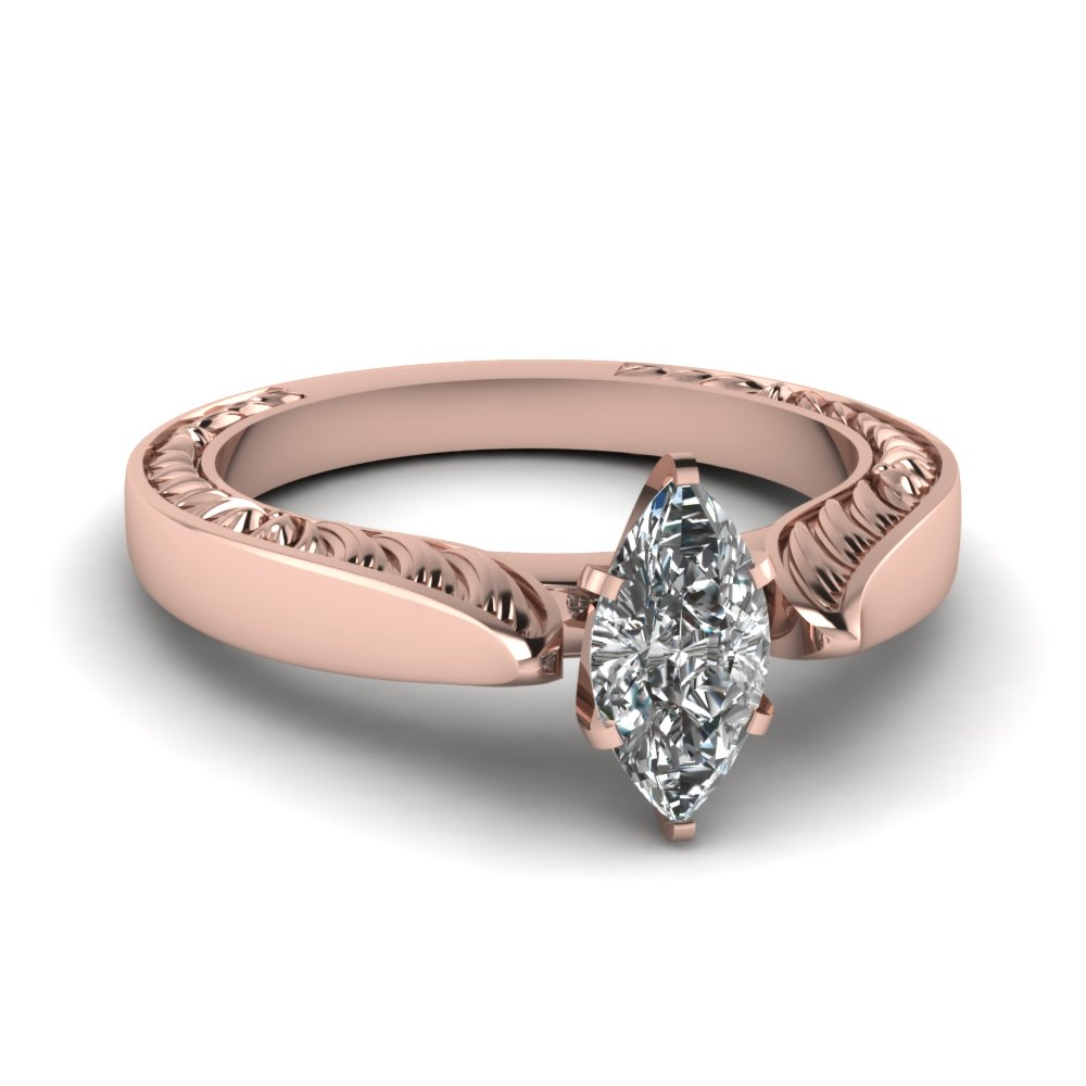 cheap diamond vintage profile solitaire pink gold ring - Affordable Diamond Wedding Rings