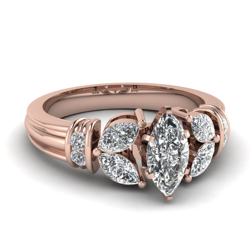Vintage Leaf Engagement Ring Pink Gold