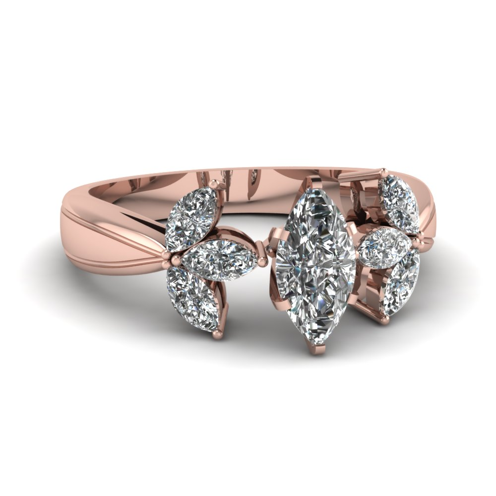 marquise shaped diamond engagement ring in 14K rose gold FDENR2904MQR NL RG