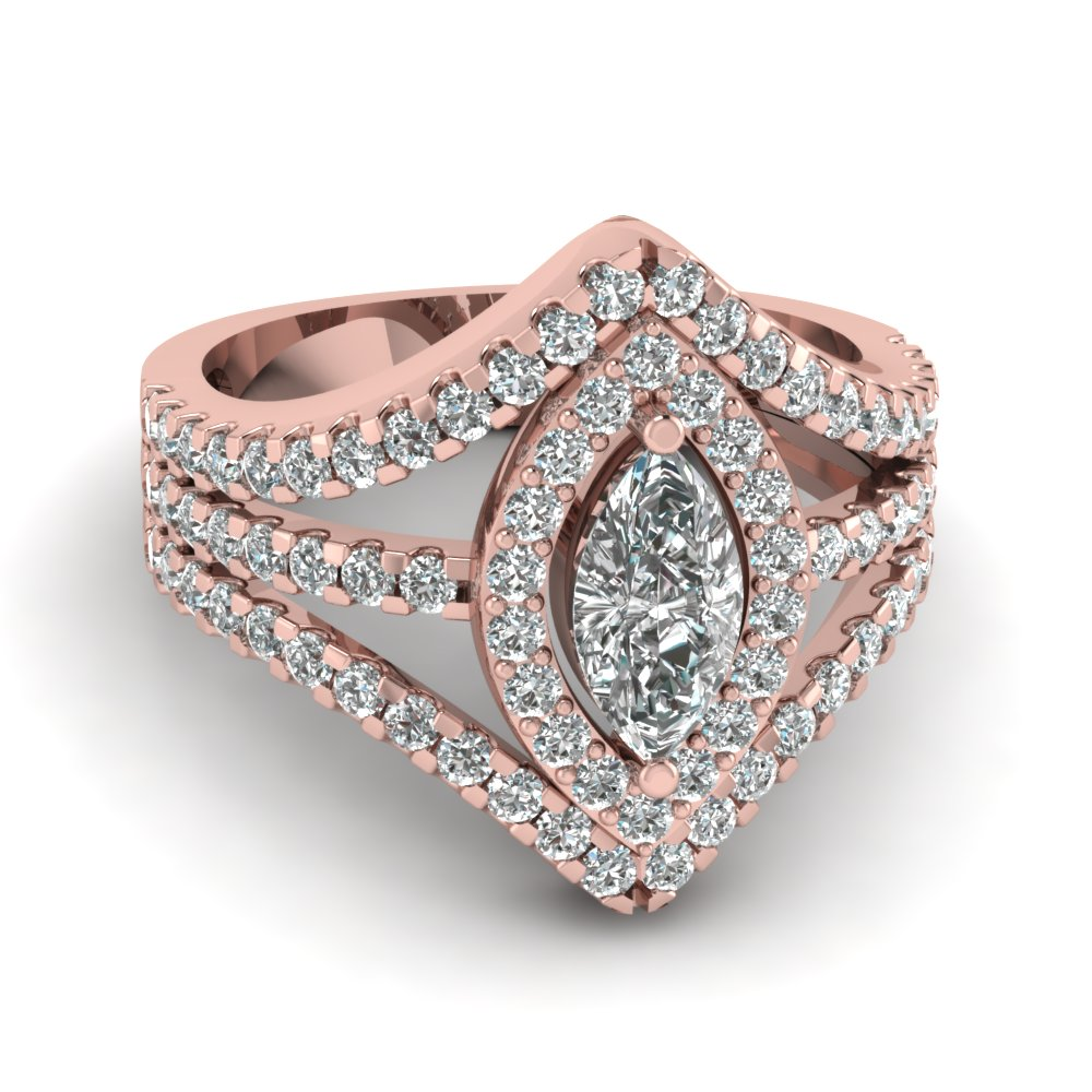 Marquise Shaped Diamond Engagement Ring In 14K Rose Gold