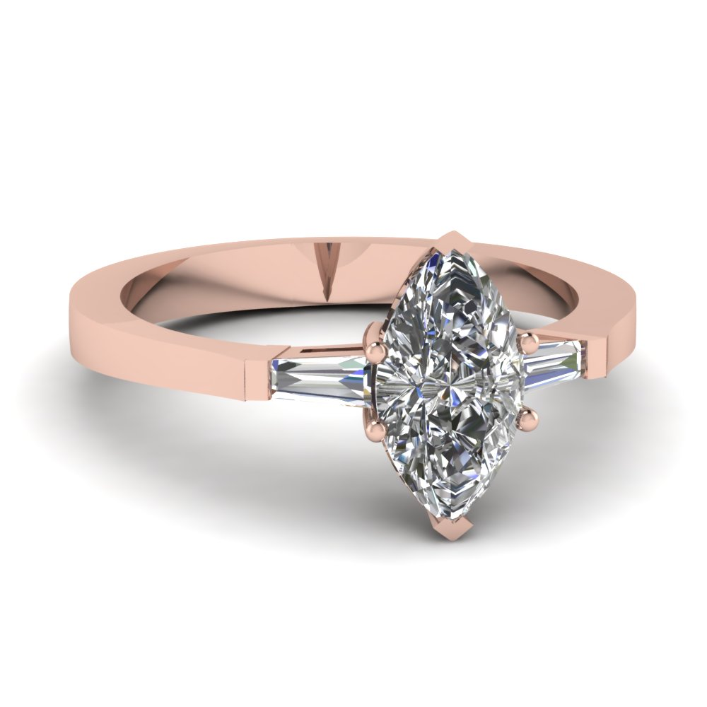 Marquise Classic Baguette In Rose Gold Engagement Ring