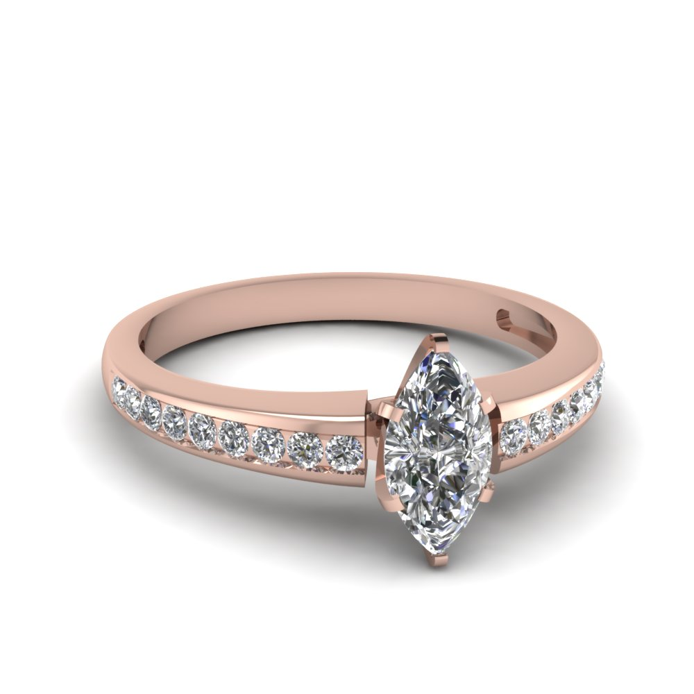 Rose Gold Marquise Shaped Diamond Engegement Ring