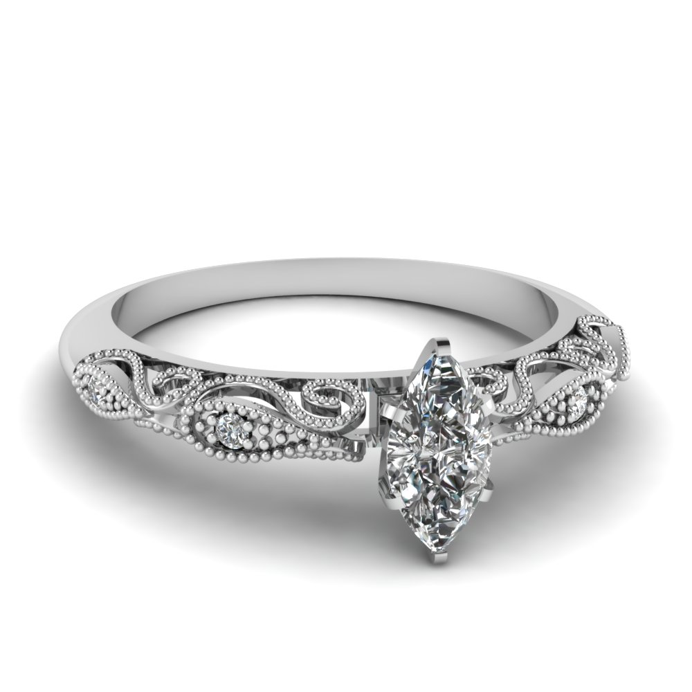 White Gold Marquise Diamond Rings