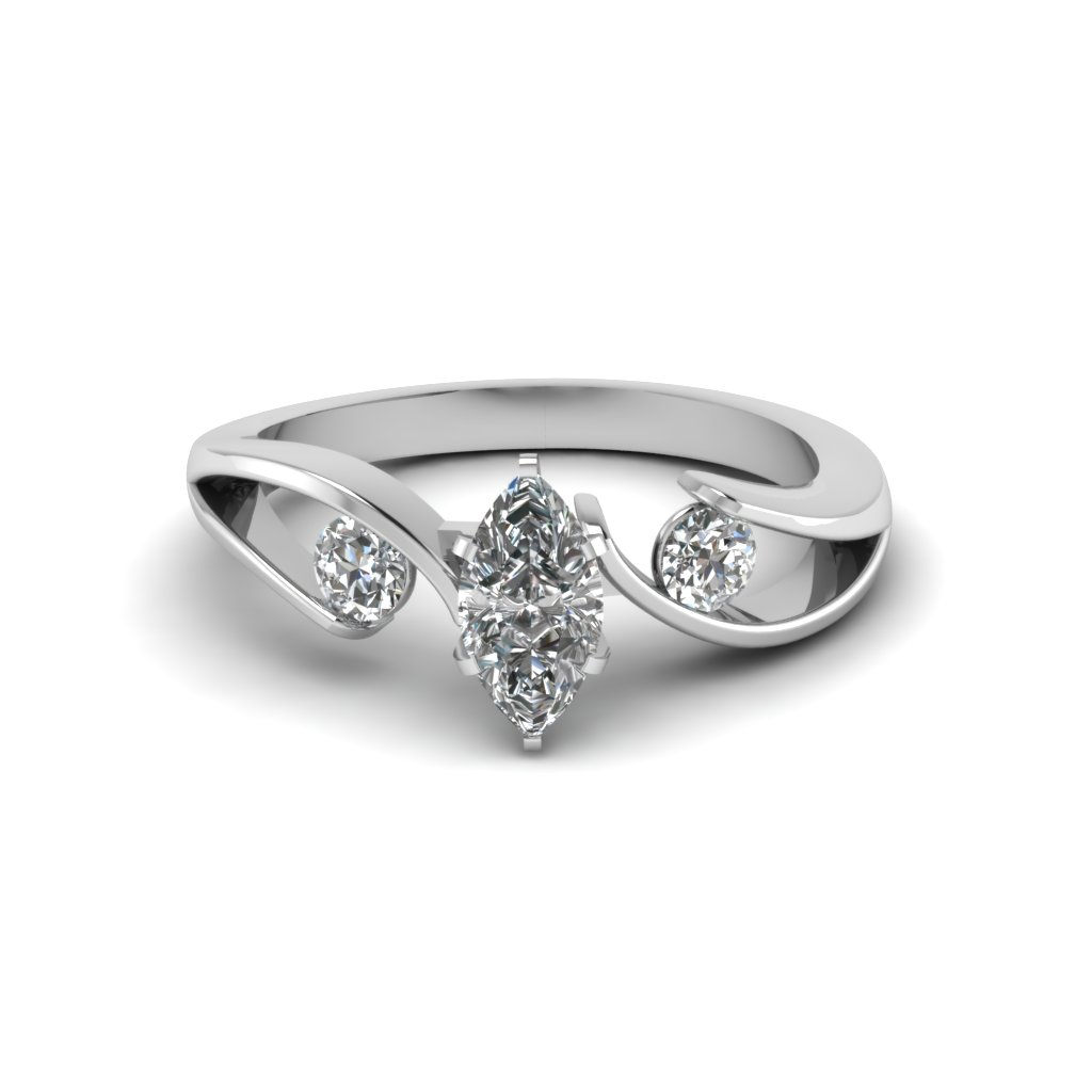 Tension Set Marquise Shaped Engagement Ring