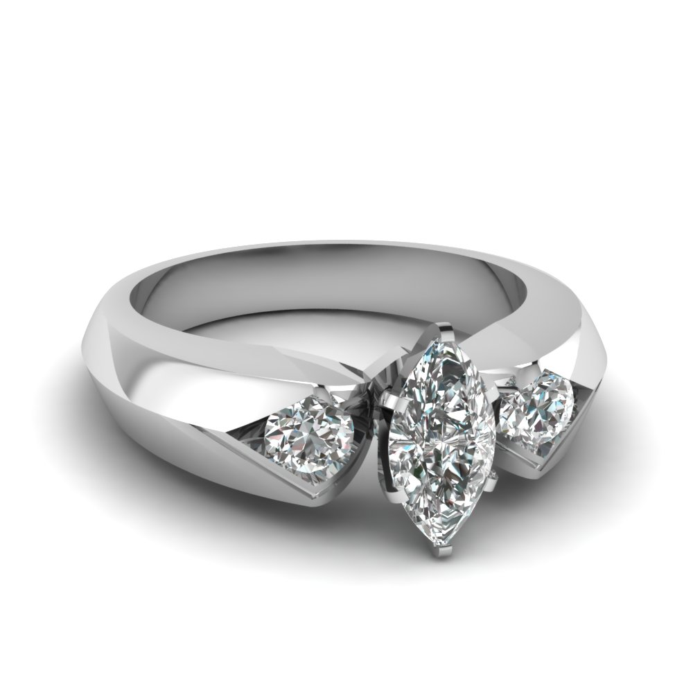 Marquise Diamond 3 Stone White Gold Rings