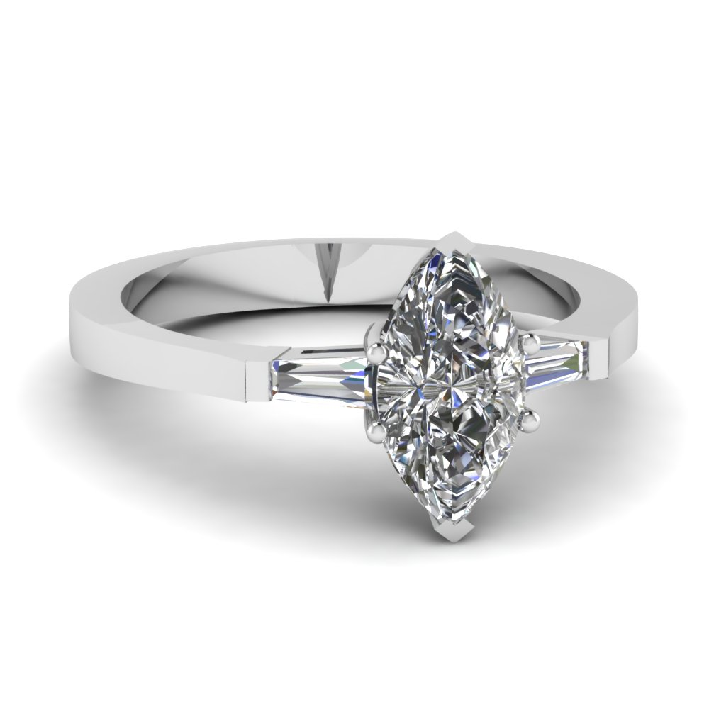 Three Stone Delicate Marquise Shaped Engagement Ring