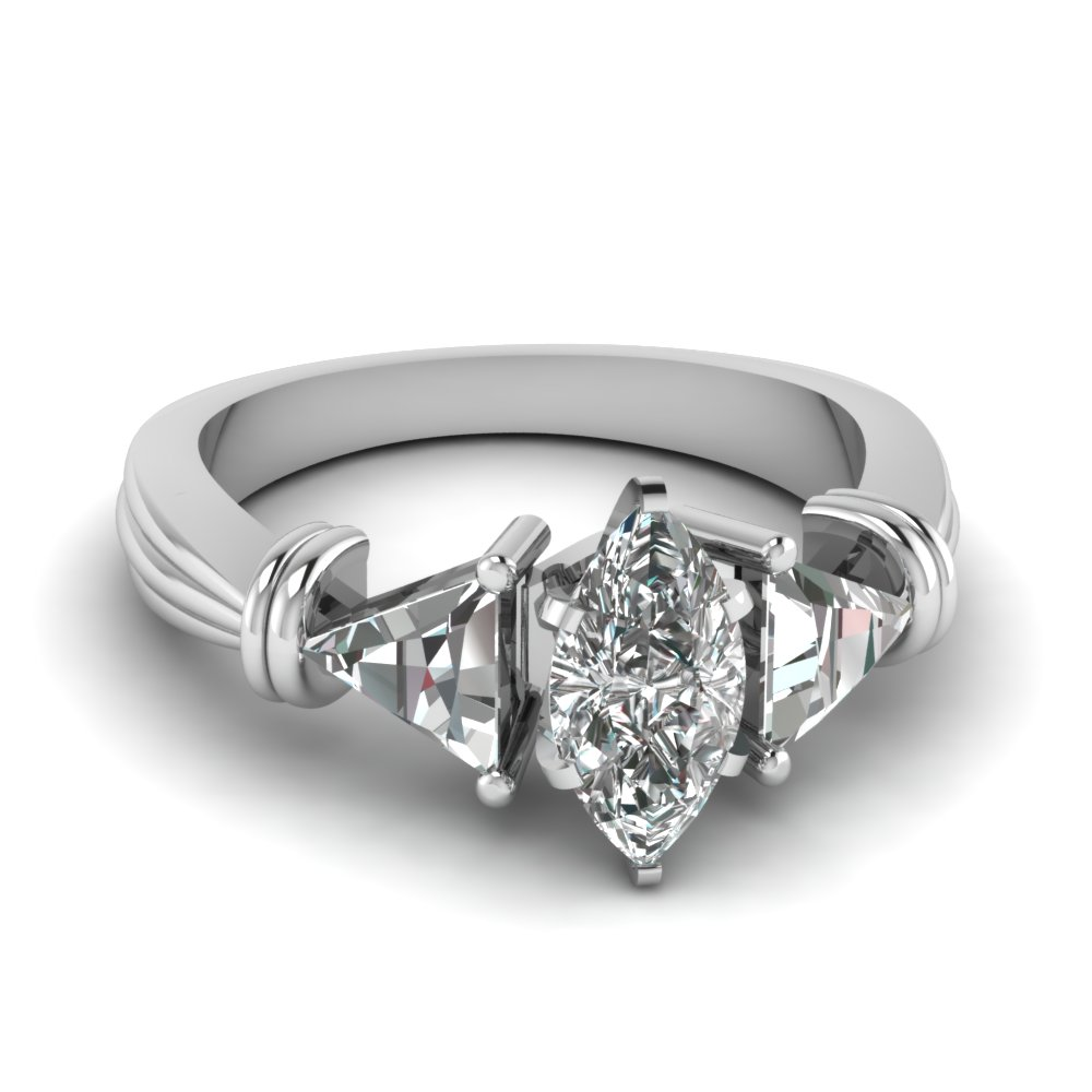 3 Stone Marquise Engagement Rings