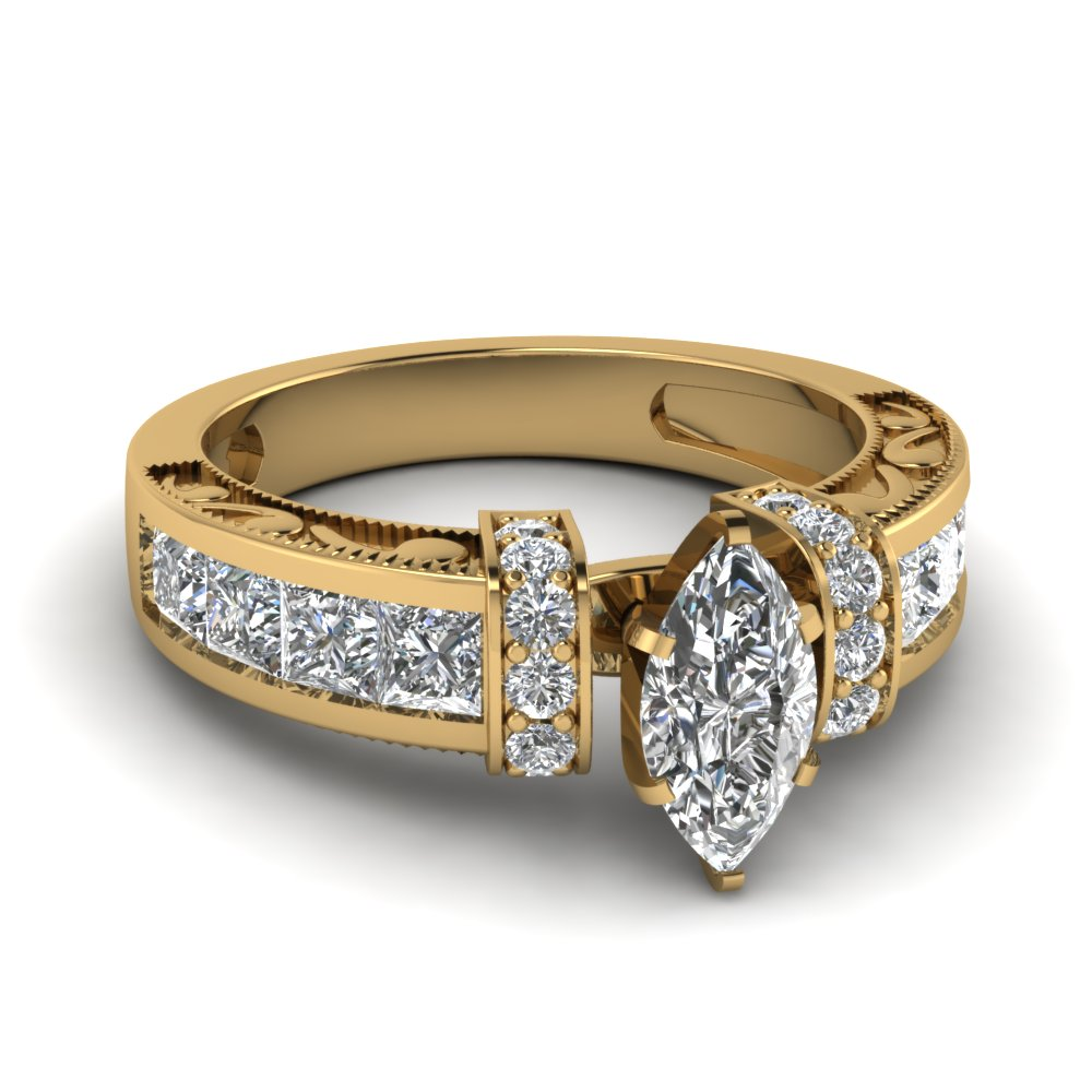 Marquise Shaped Diamond Engagement Ring In 14k Yellow Gold