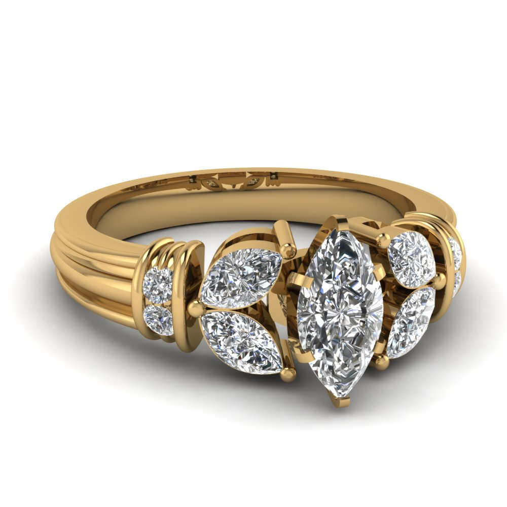 antique design marquise diamond ring in 14k yellow gold. Black Bedroom Furniture Sets. Home Design Ideas