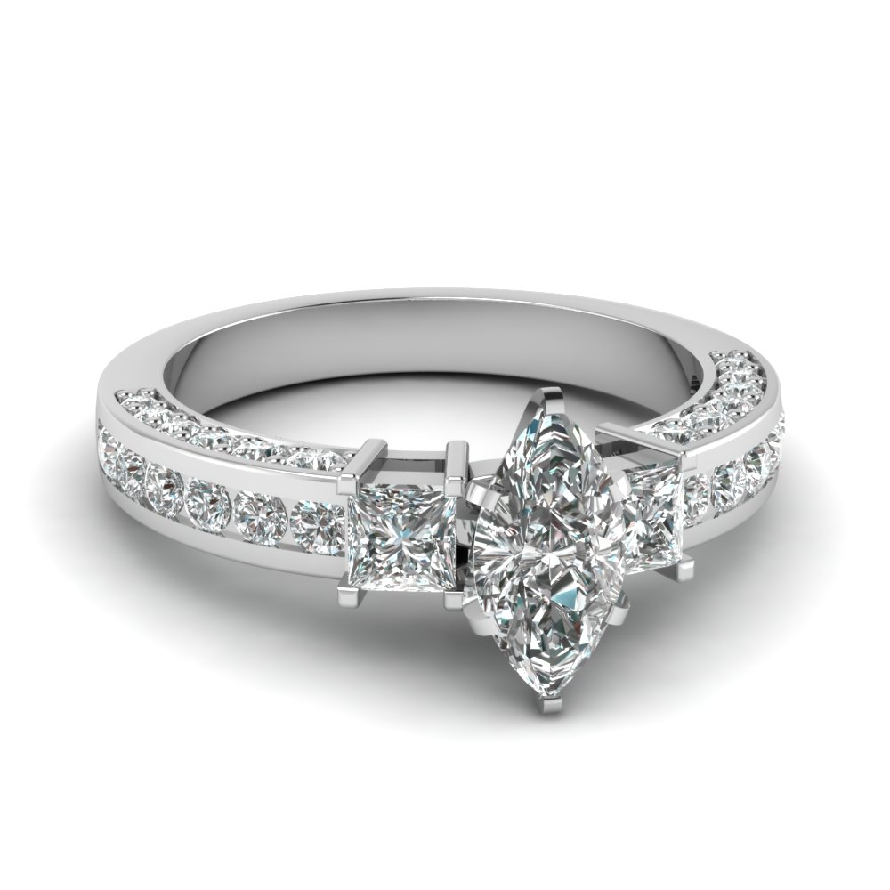 Certified 18k White Gold Marquise Diamond Ring