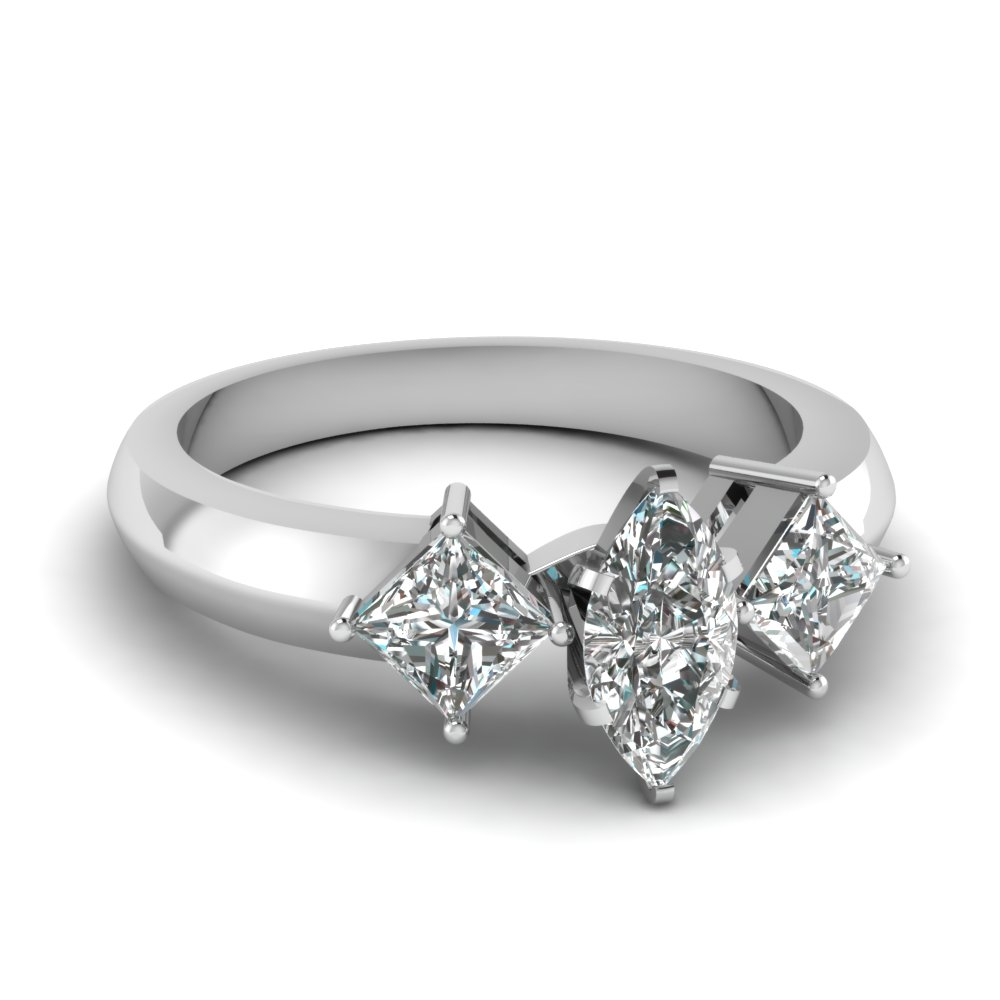 kite set 3 stone marquise cut engagement ring in FDENR263MQR NL WG