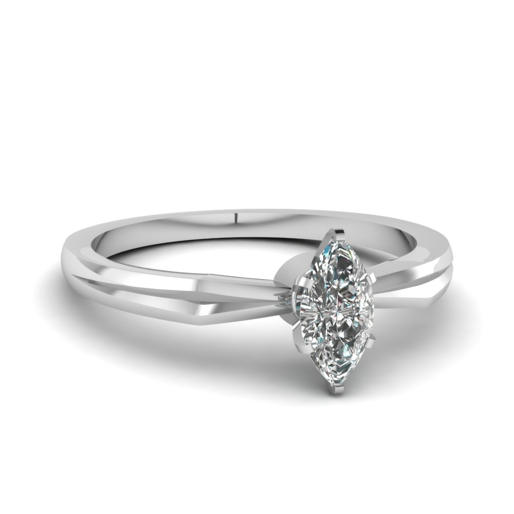 tapered marquise cut diamond solitaire engagement ring in FDENR3757MQR NL WG