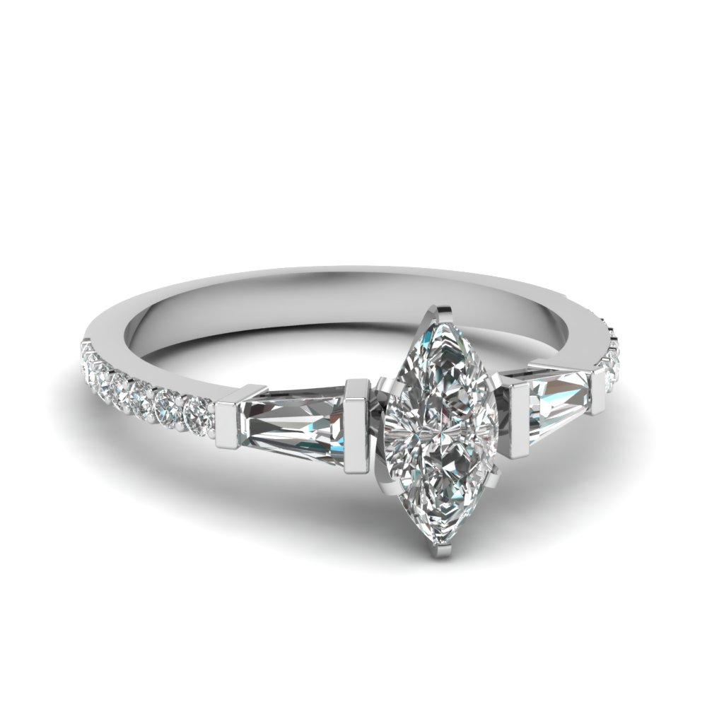 3 Stone Baguette Emerald Cut Engagement Ring With Black Diamond In ...