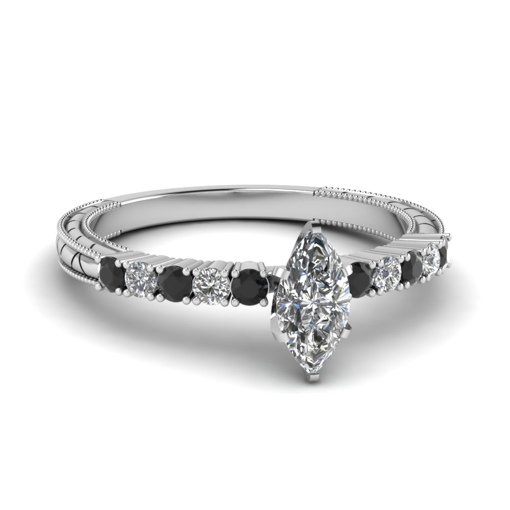 Vintage Marquise Black Diamond Engagement Ring For Sale In 14k White Gold Fascinating Diamonds